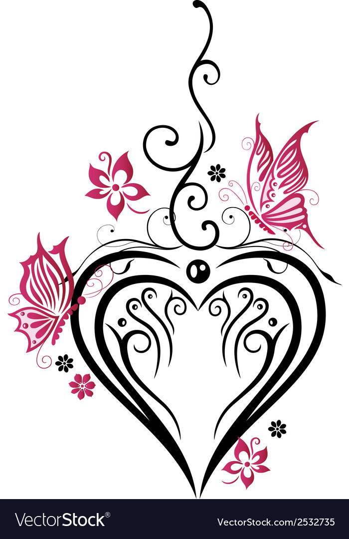 Heart butterflies vector | Price: 1 Credit (USD $1)