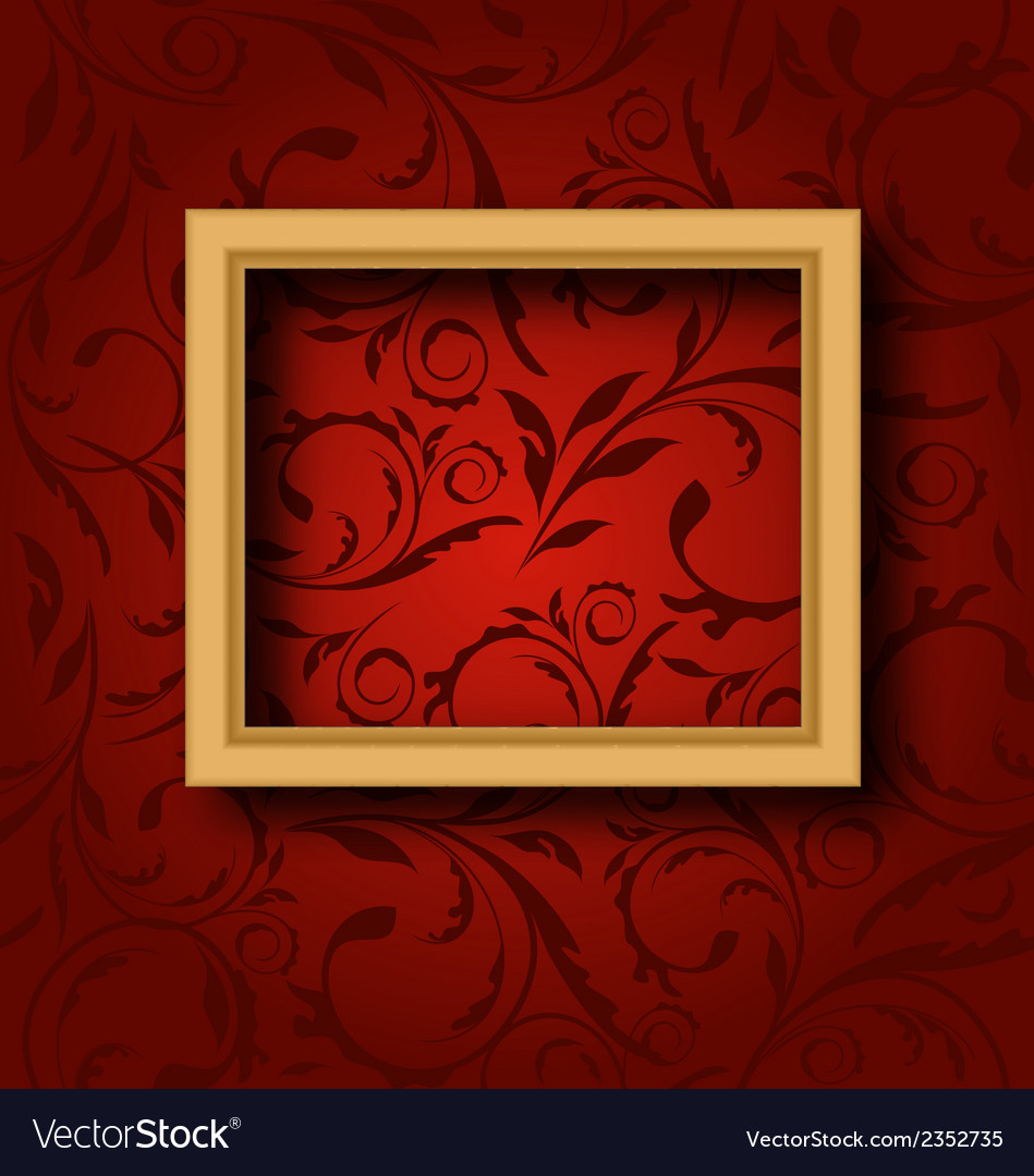 Picture wooden frame on vintage wall vector | Price: 1 Credit (USD $1)