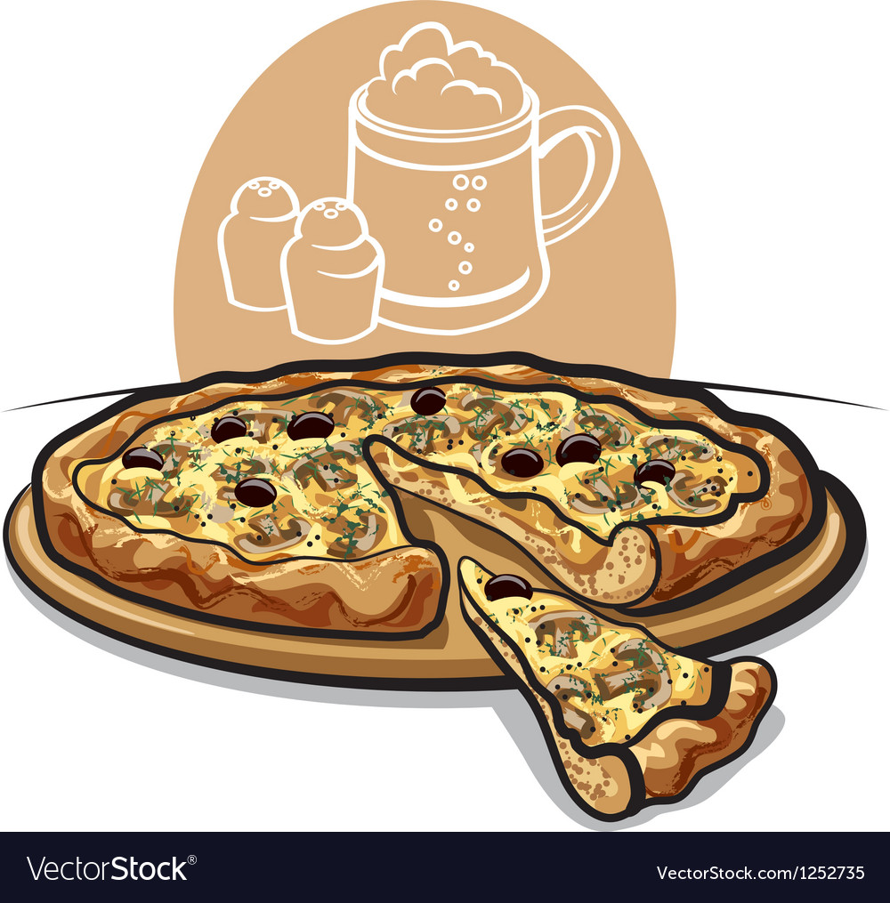 Pizza with mushrooms vector | Price: 3 Credit (USD $3)