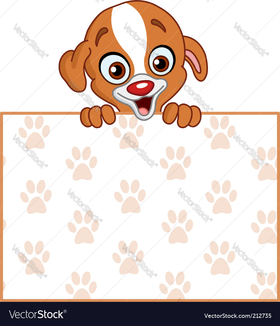 Puppy with sign vector | Price: 3 Credit (USD $3)