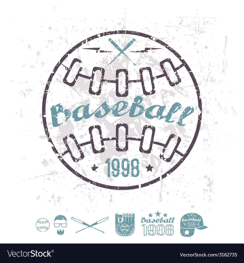 Retro emblem baseball college team vector | Price: 1 Credit (USD $1)