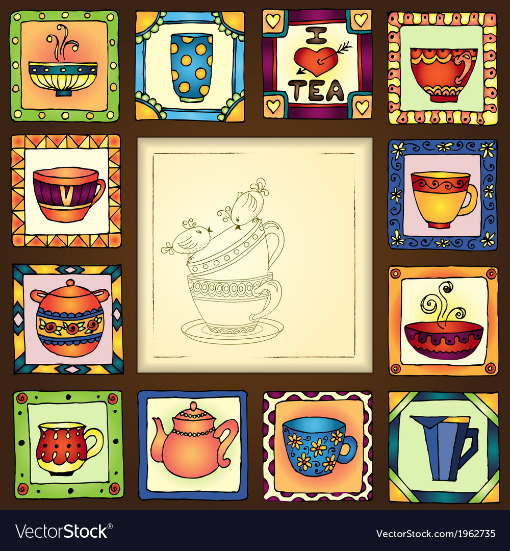 Tea cups and pots frame hand drawn design vector | Price: 1 Credit (USD $1)