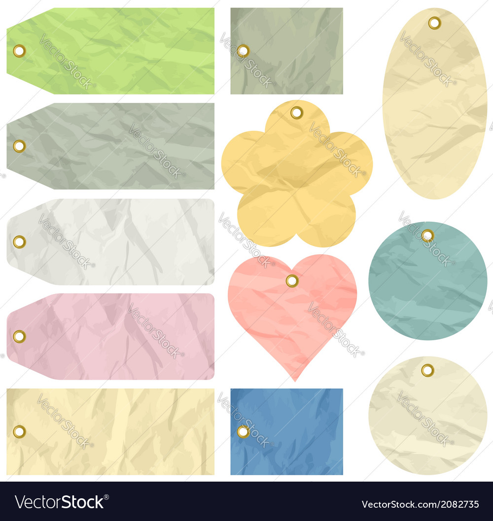 Twelve crumple labels vector | Price: 1 Credit (USD $1)