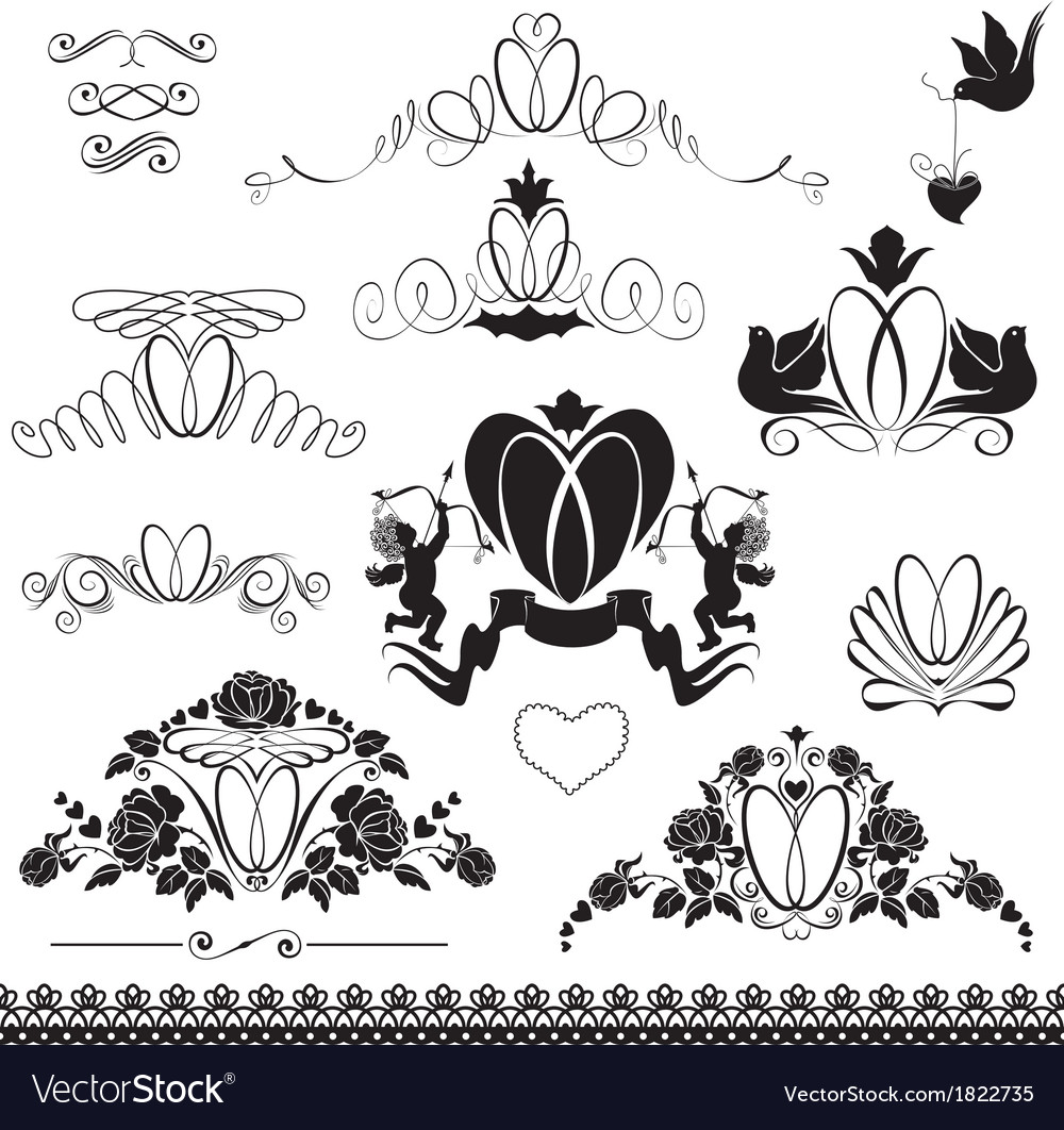 Two wedding rings - vintage ornaments calligraphic vector | Price: 1 Credit (USD $1)