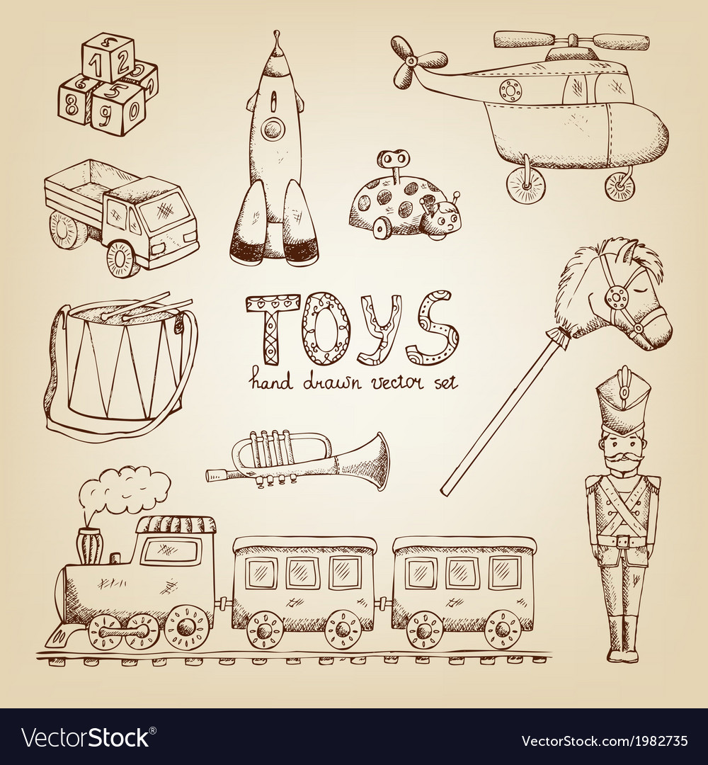 Vintage hand drawn toys vector | Price: 1 Credit (USD $1)