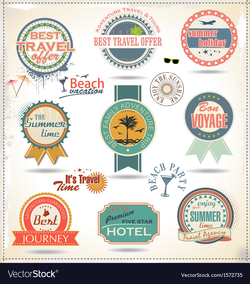 Vintage summer labels vector | Price: 3 Credit (USD $3)