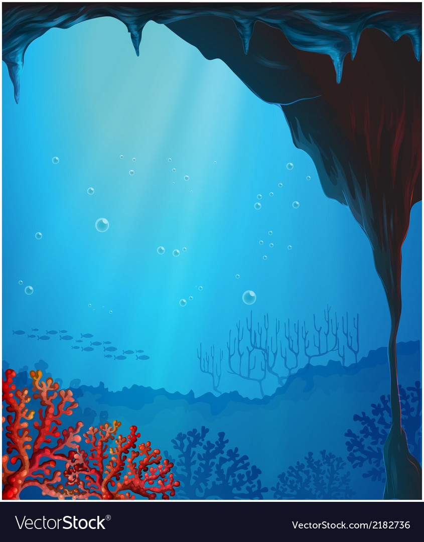 Corals inside the seacave vector | Price: 1 Credit (USD $1)