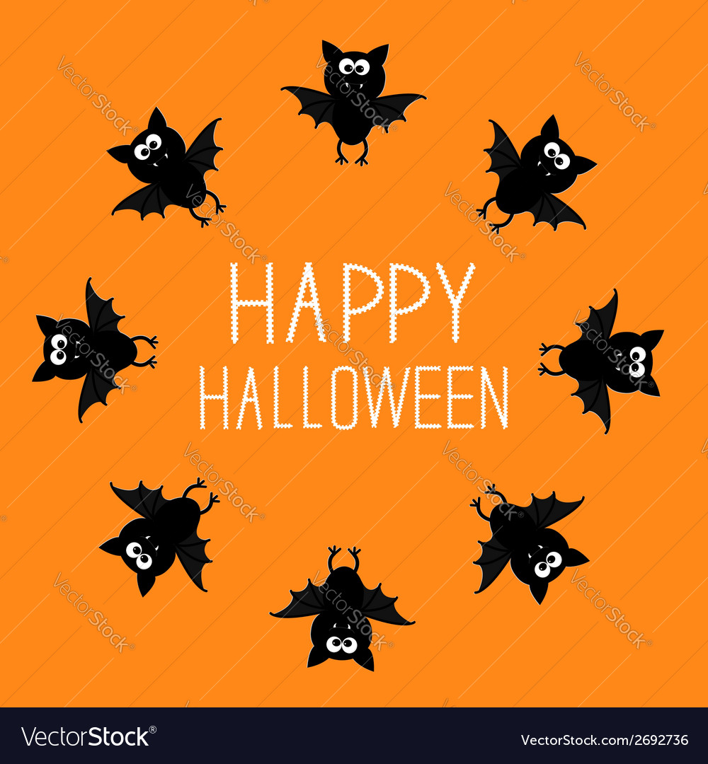 Cute bat round frame happy halloween card orange vector | Price: 1 Credit (USD $1)