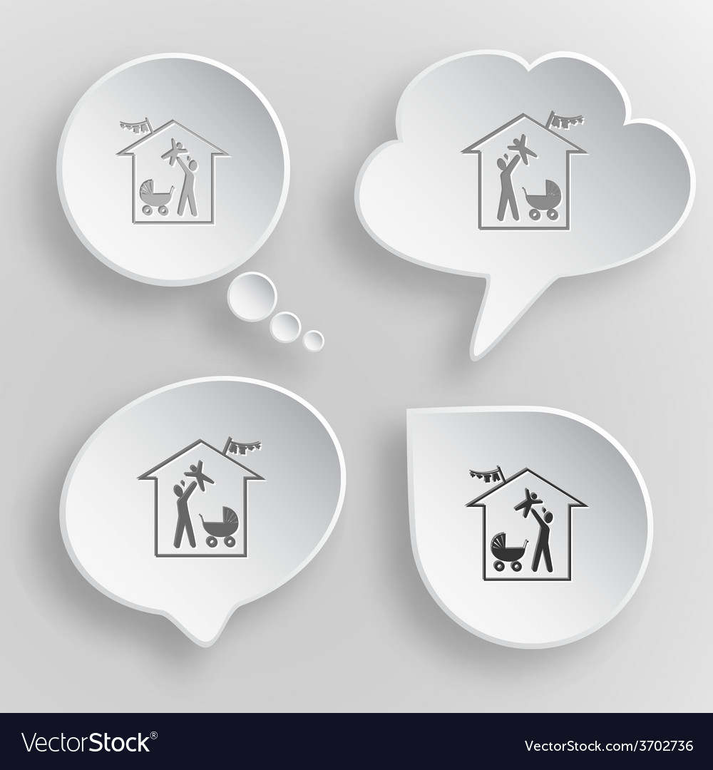 Family home white flat buttons on gray background vector | Price: 1 Credit (USD $1)