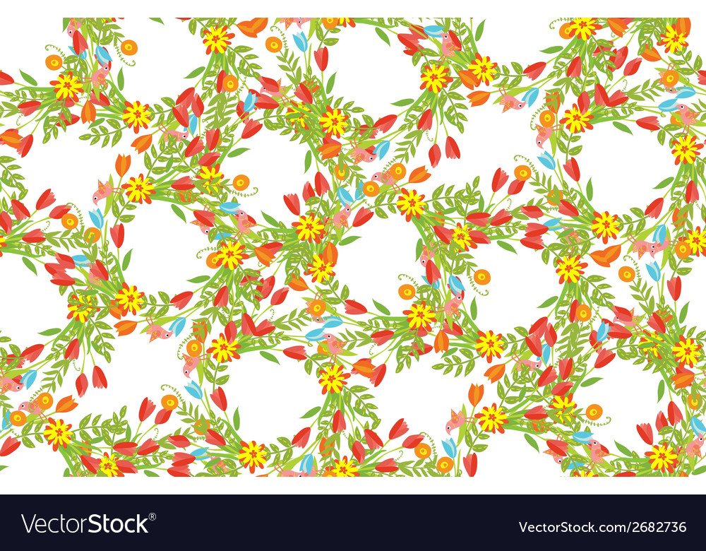 Floral frame of cute retro flowers vector | Price: 1 Credit (USD $1)