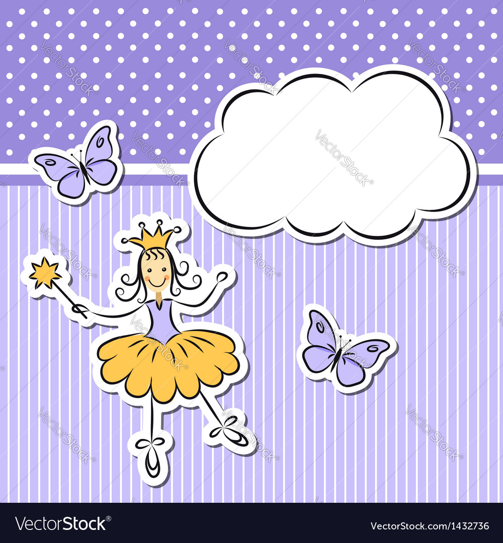 Little girl with paper cloud and butterflies vector | Price:  Credit (USD $)