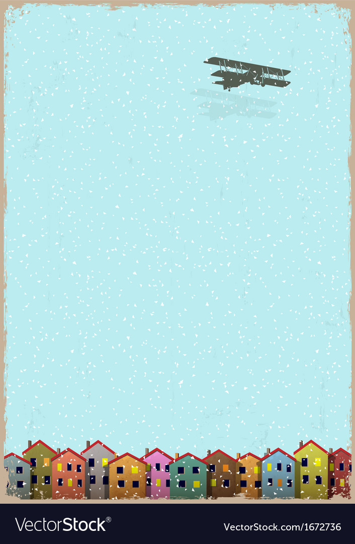 Paper little town with aeroplane winter vector | Price: 1 Credit (USD $1)