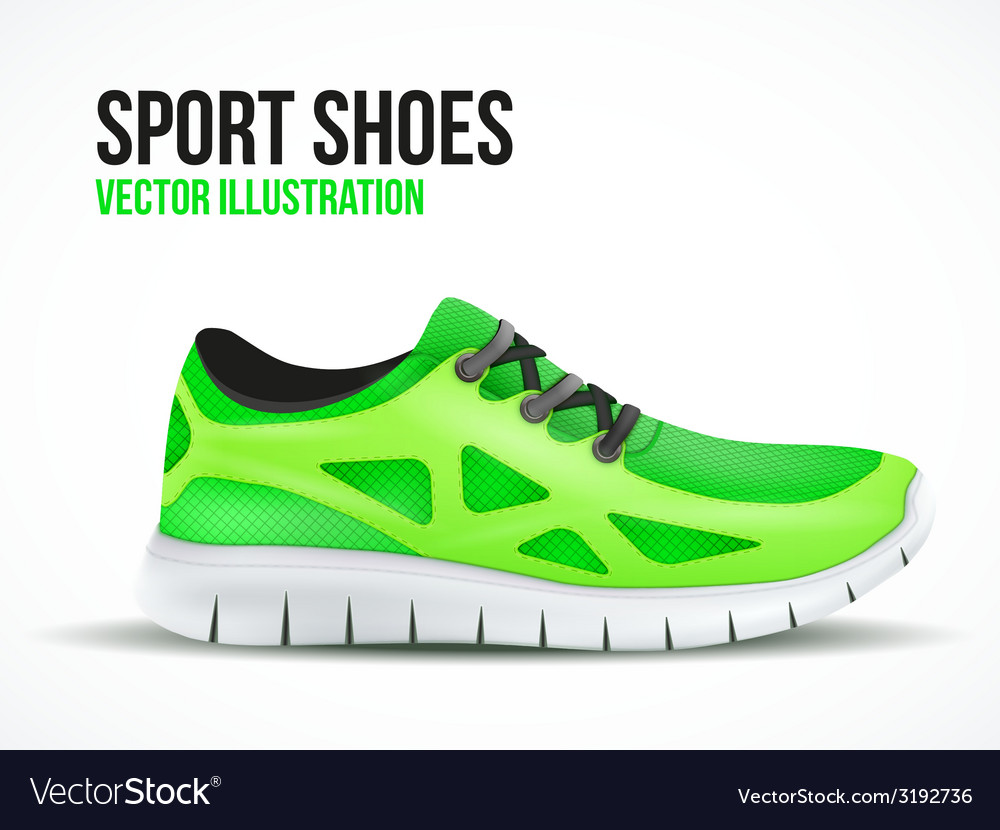 Running green shoes bright sport sneakers symbol vector | Price: 1 Credit (USD $1)