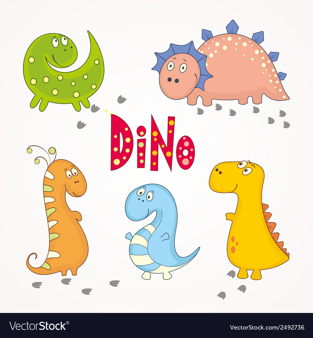 Set of cute dinosaurs vector | Price: 1 Credit (USD $1)