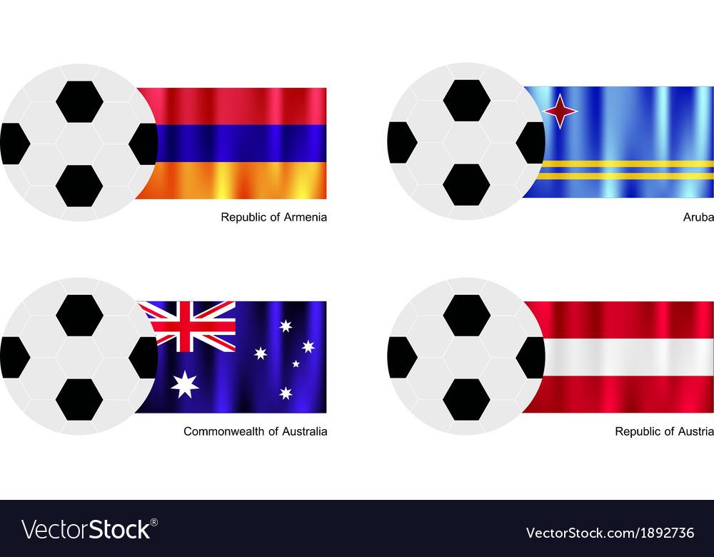 Soccer ball with armenia aruba australia flag vector   Price: 1 Credit (USD $1)