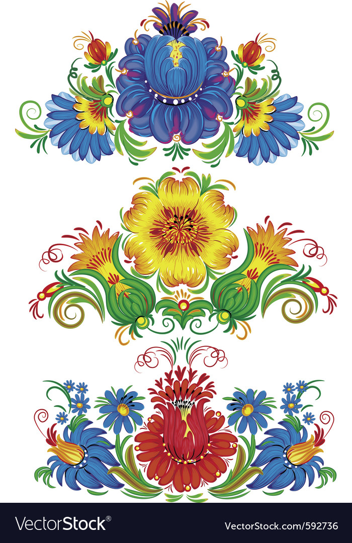 Three decorative arrangement of flowers vector | Price: 1 Credit (USD $1)