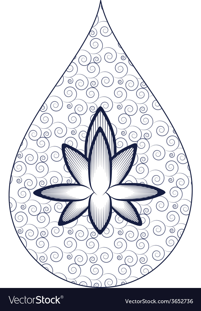 Wavy pattern with lotus vector | Price: 1 Credit (USD $1)