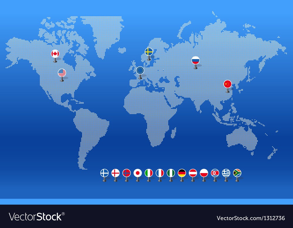 World map with set of different countries flags vector | Price: 1 Credit (USD $1)