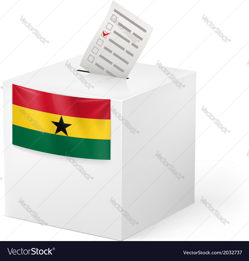 Ballot box with voting paper ghana vector | Price: 1 Credit (USD $1)