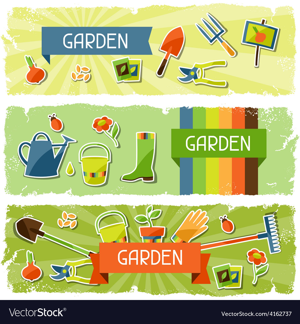 Banners with garden sticker design elements and vector | Price: 3 Credit (USD $3)