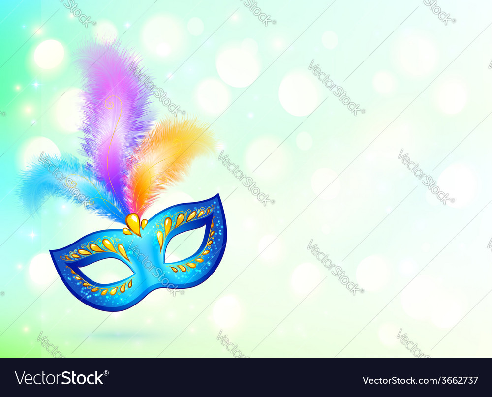 Blue carnival mask with colorful feathers banner vector | Price: 1 Credit (USD $1)