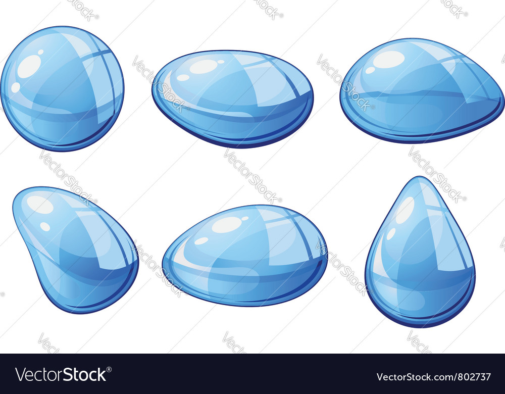Blue liquid water drops vector | Price: 1 Credit (USD $1)