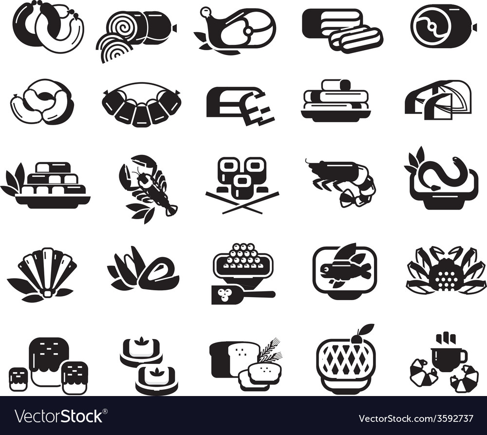 Food meat seafood baked goods set of icons vector | Price: 1 Credit (USD $1)