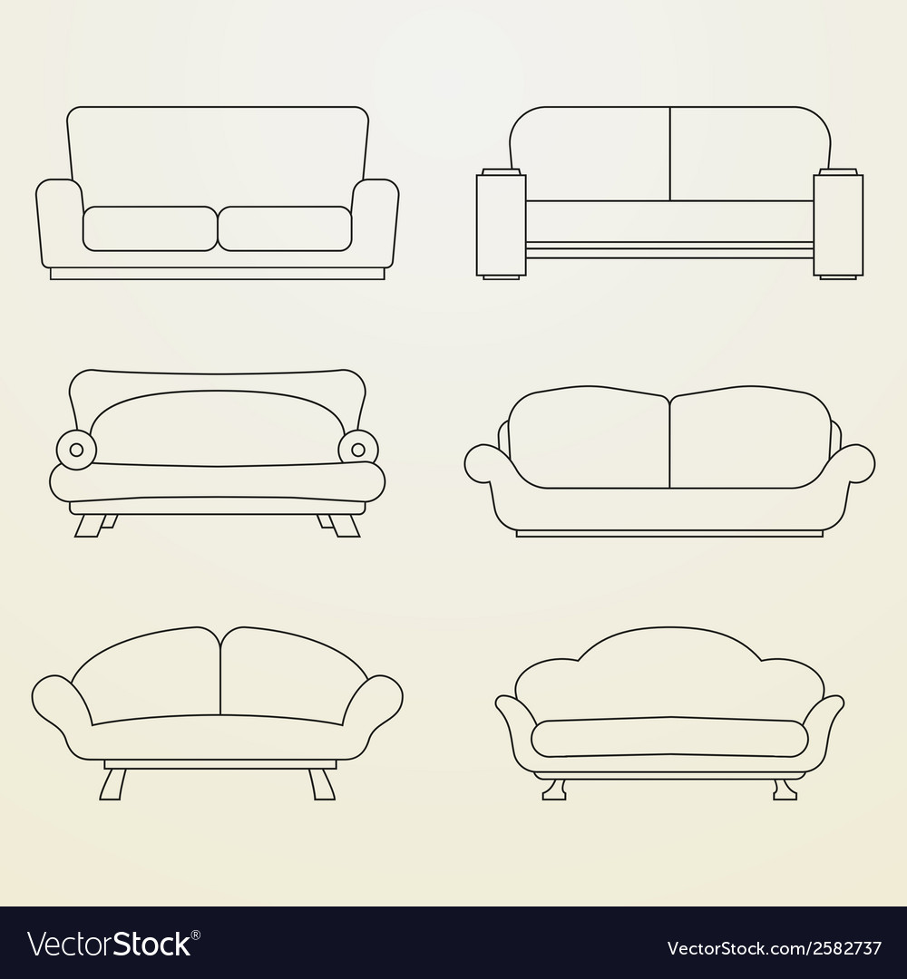 Icon set of sofas thin line style vector | Price: 1 Credit (USD $1)