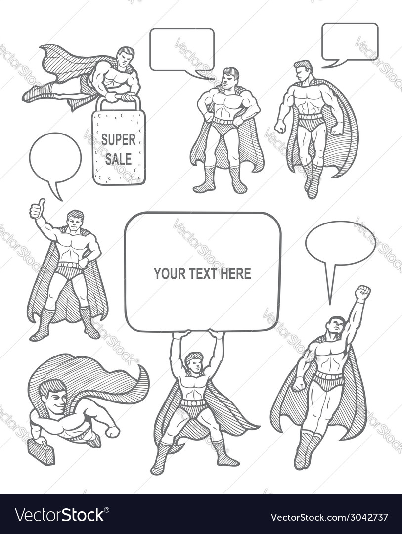 Male superhero sketch with empty speech bubbles vector | Price: 1 Credit (USD $1)