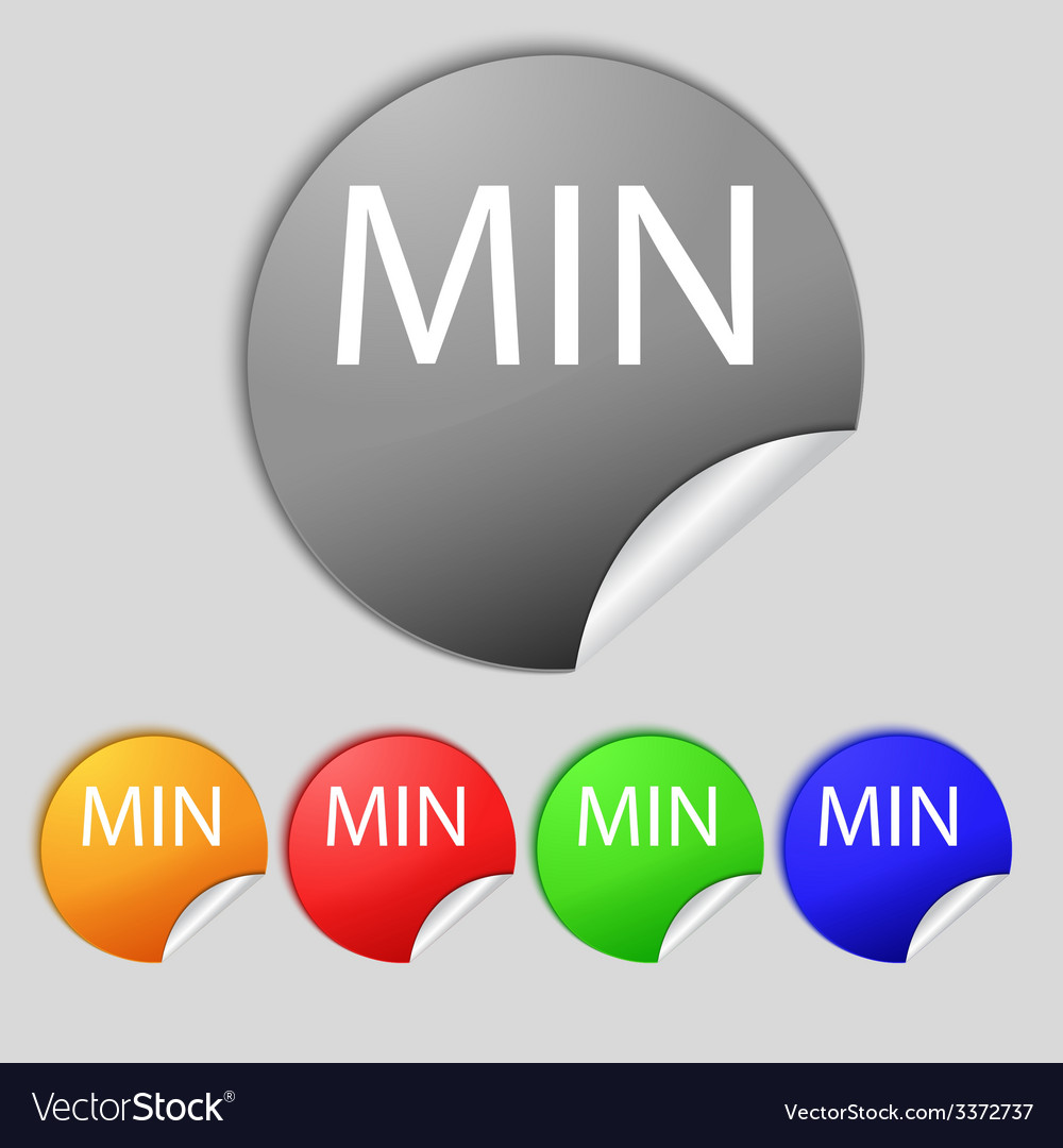 Minimum sign icon set of colored buttons vector | Price: 1 Credit (USD $1)