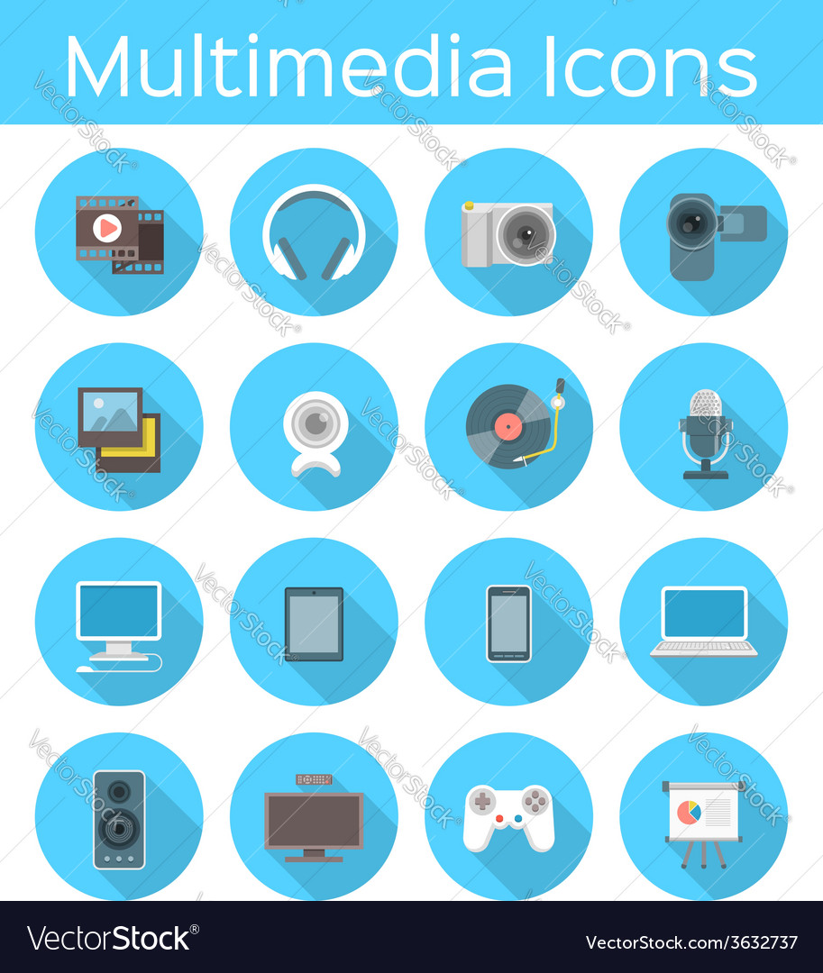 Multimedia flat icons vector | Price: 1 Credit (USD $1)