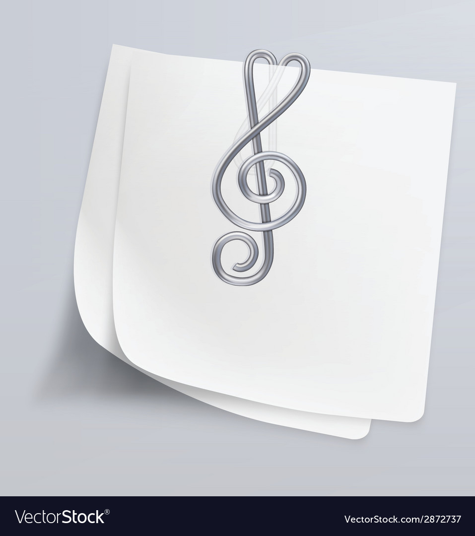 Paper clip treble clef vector | Price: 1 Credit (USD $1)