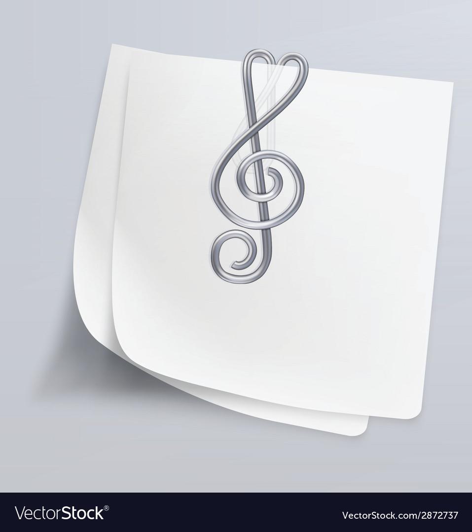 Paper clip treble clef vector | Price: 1 Credit (USD $1)