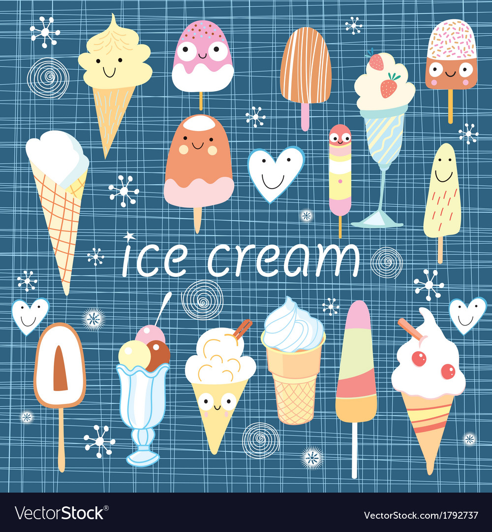Pattern colorful variety of ice cream vector | Price: 1 Credit (USD $1)