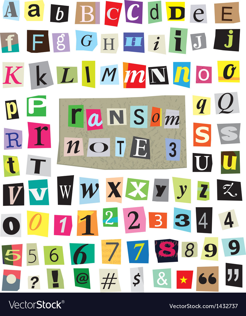 Ransom note 3- cut paper letters numbers vector | Price: 1 Credit (USD $1)
