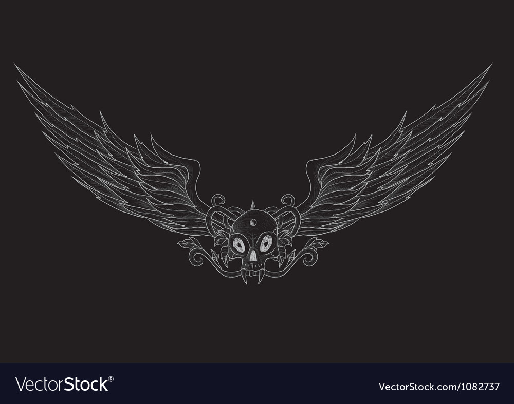 Skull with wings black vector | Price: 1 Credit (USD $1)
