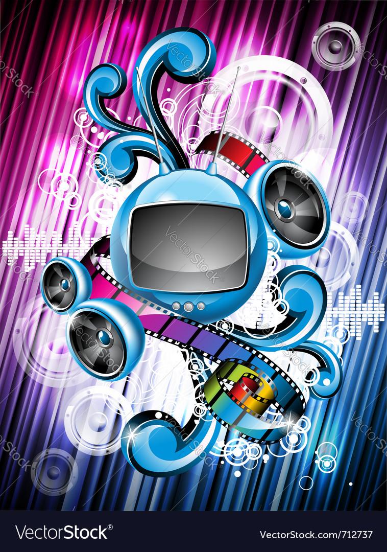 Speakers and futuristic television vector | Price: 3 Credit (USD $3)