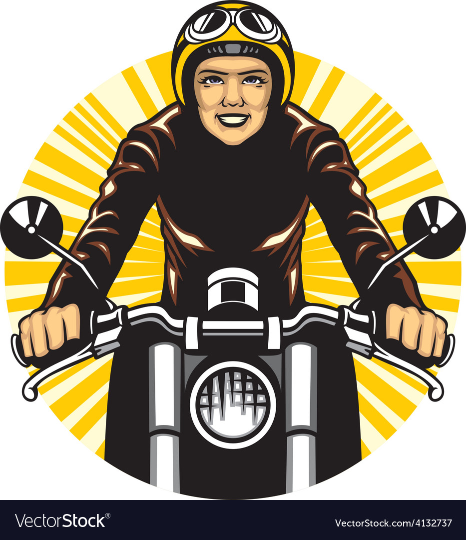 Woman ride a motorcycle vector | Price: 3 Credit (USD $3)