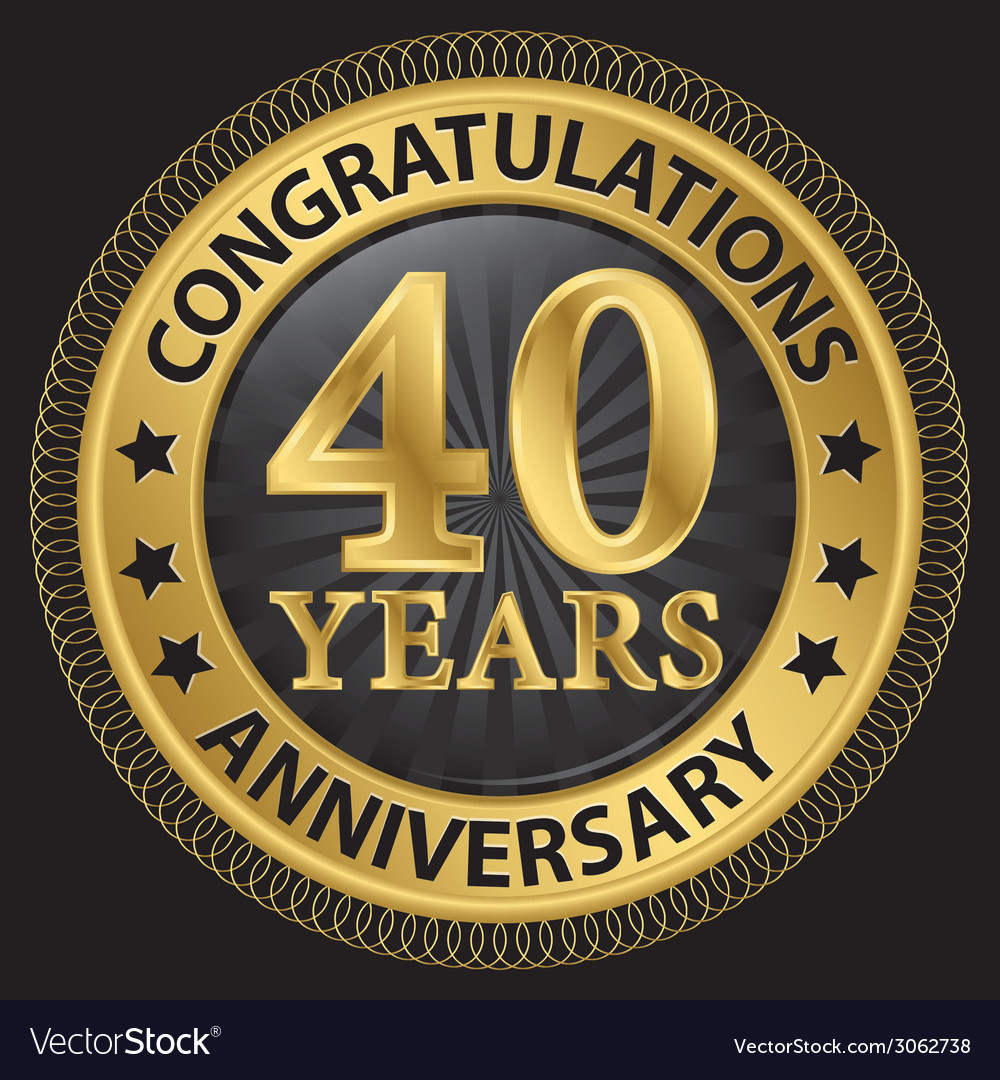 40 years anniversary congratulations gold label vector | Price: 1 Credit (USD $1)
