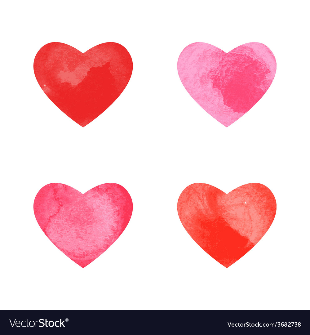 Collection of watercolor hearts vector | Price: 1 Credit (USD $1)