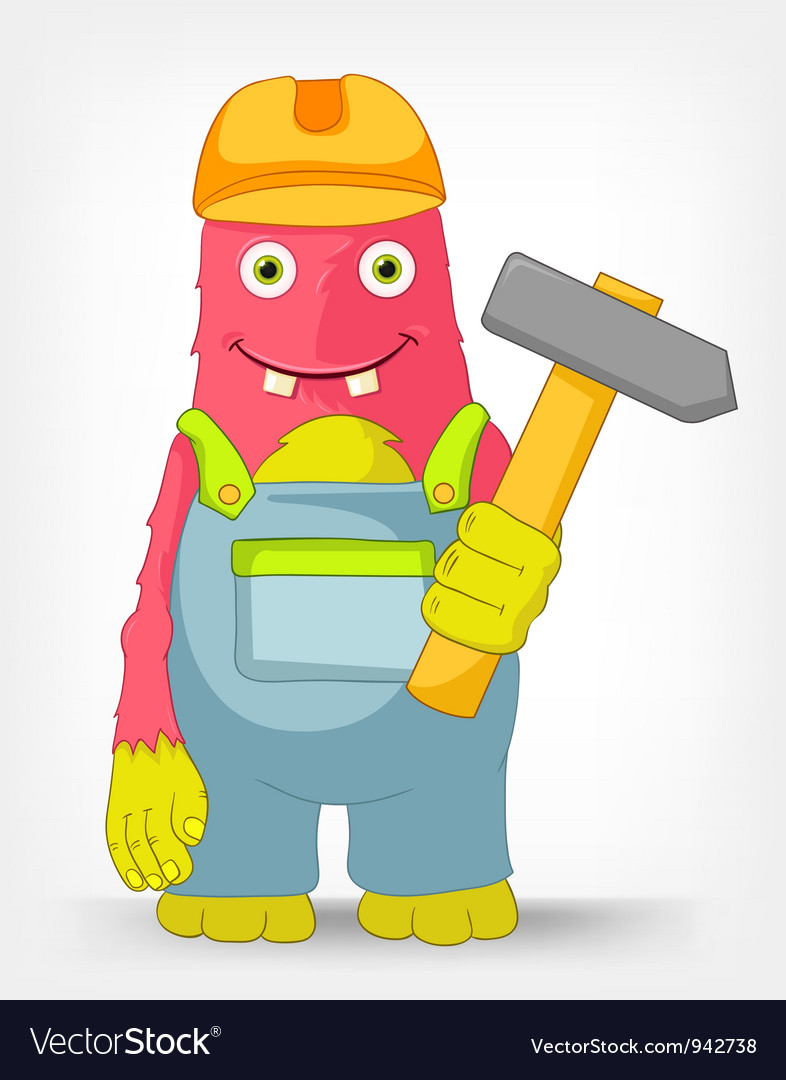Funny monster contractor vector | Price: 3 Credit (USD $3)