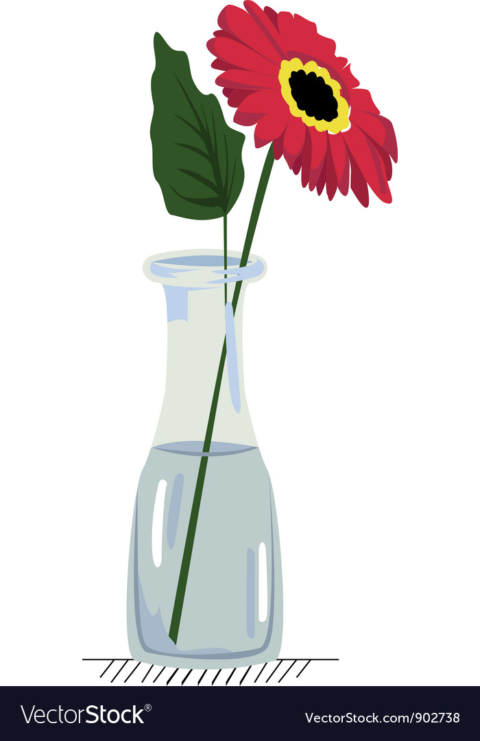 Gerbera in vase vector | Price: 1 Credit (USD $1)