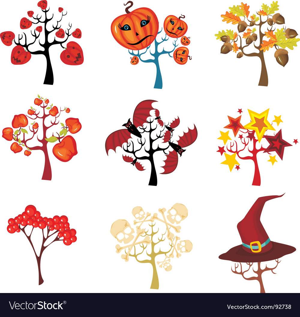 Halloween tree set vector | Price: 1 Credit (USD $1)