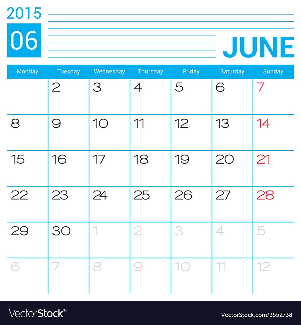 June 2015 calendar page template vector | Price: 1 Credit (USD $1)