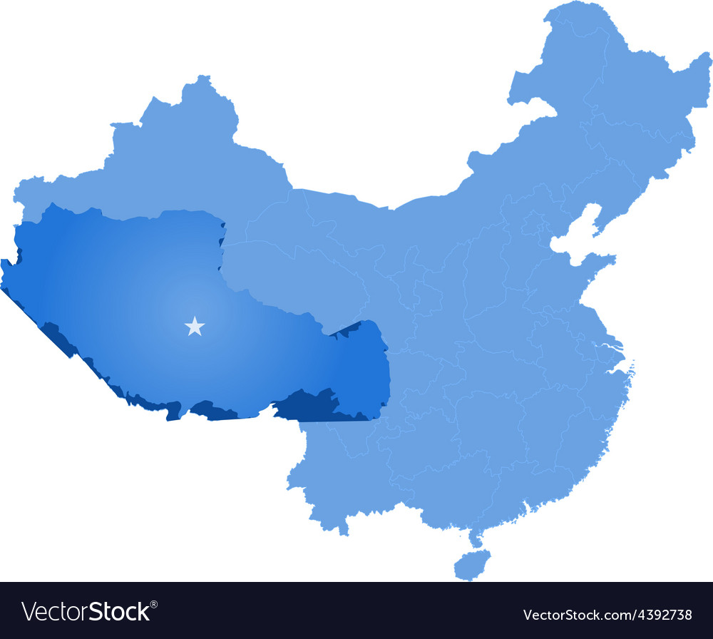 Map of peoples republic of china - tibet vector   Price: 1 Credit (USD $1)