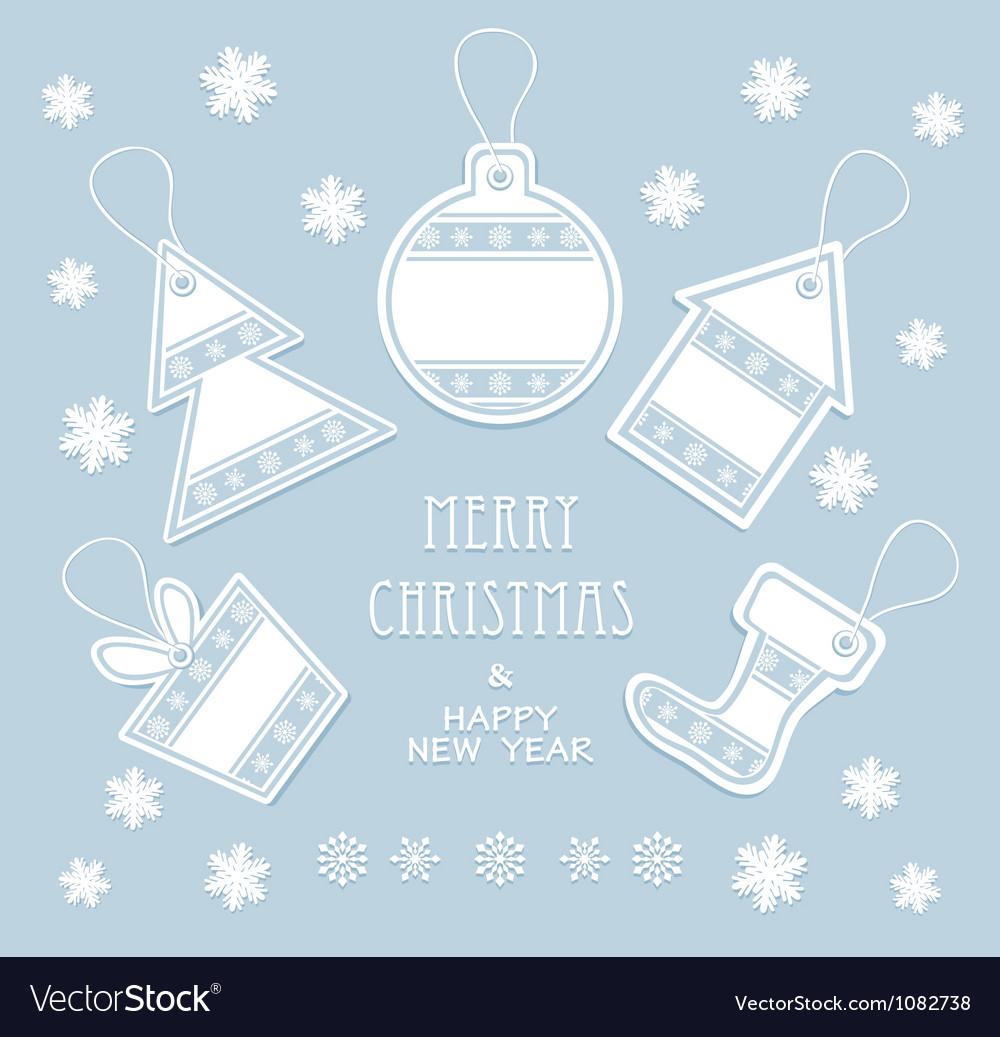 Merry christmas and new year labels in blue color vector | Price: 1 Credit (USD $1)
