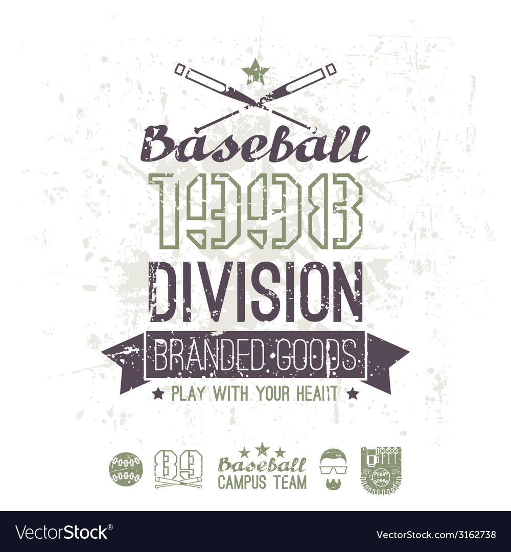 Retro emblem baseball division of college vector | Price: 1 Credit (USD $1)