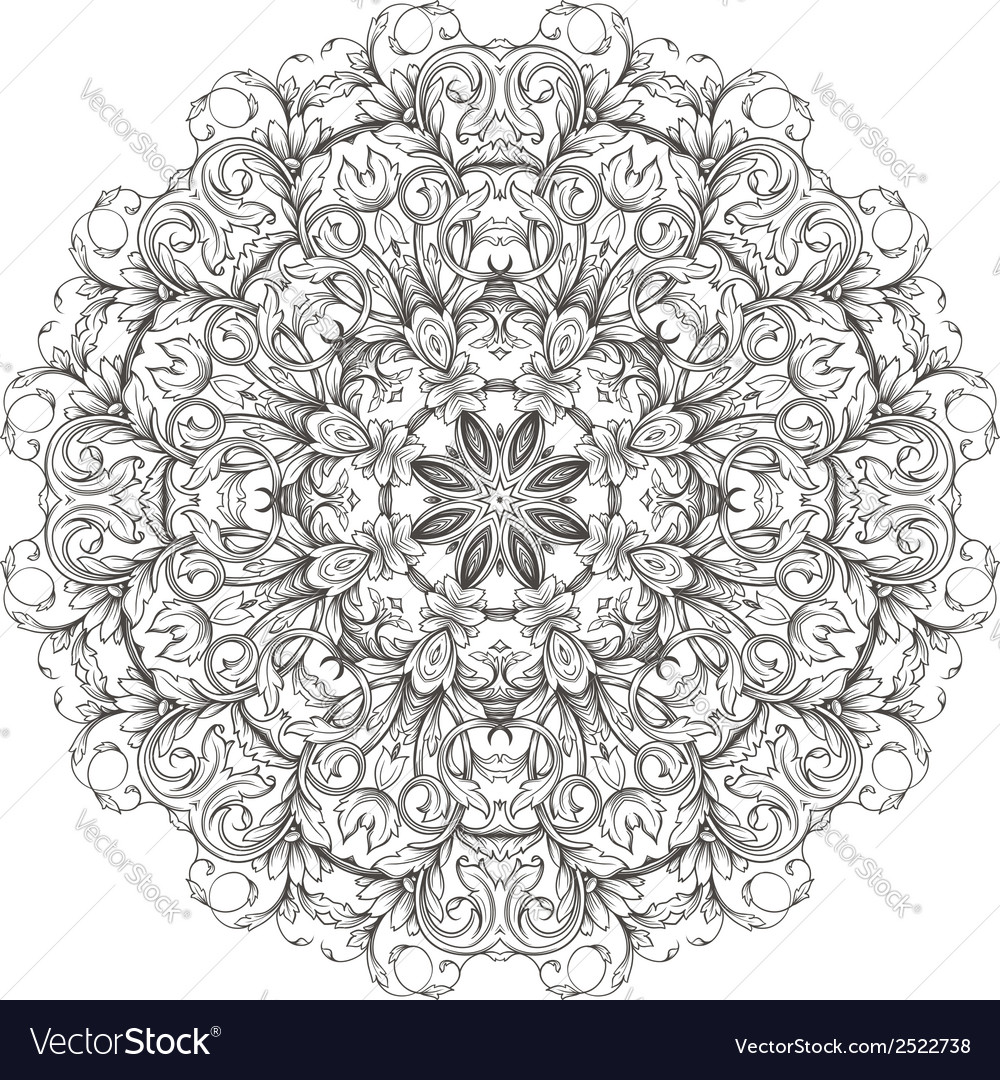 Round floral pattern vector | Price: 1 Credit (USD $1)