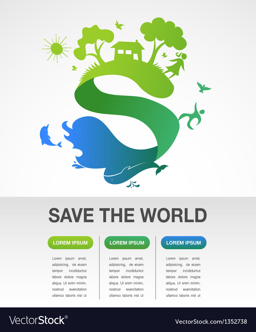 Save the world - nature and ecology infographics vector | Price: 1 Credit (USD $1)