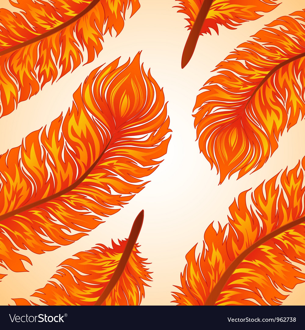 Seamless background with fiery feathers vector | Price: 1 Credit (USD $1)